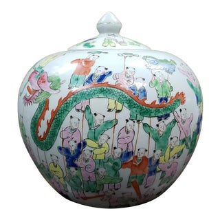 1862-1873 Tongzhi Period Chinese Famille Rose Porcelain 100 Boys Motif Ginger Jar For Sale