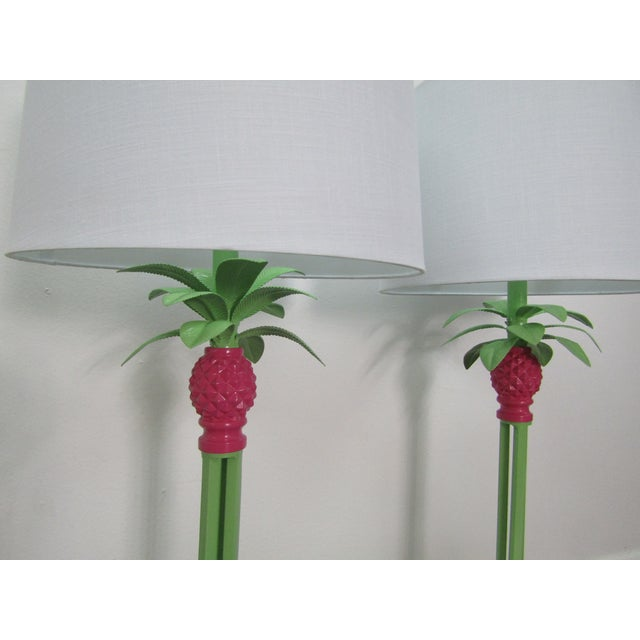 American Vintage Green and Pink Restored Tall Pineapple Lamps With Shades - a Pair - a Pair For Sale - Image 3 of 6