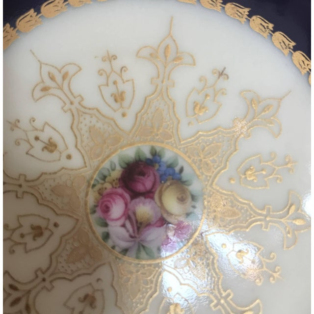 Ceramic 20th Century Edwardian Sumptuous Cobalt and Gold Service Dinner Plates - Set of 10 For Sale - Image 7 of 10