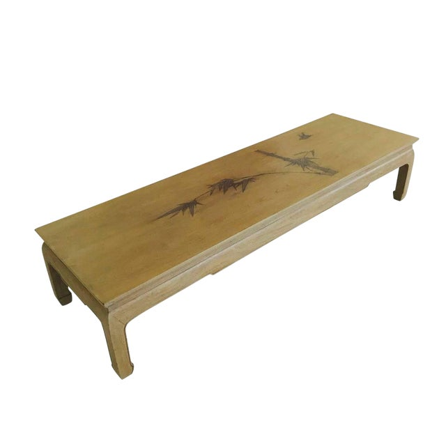 Bleached Mahogany Ming Coffee Table With Inlaid Bamboo Leaf Design For Sale