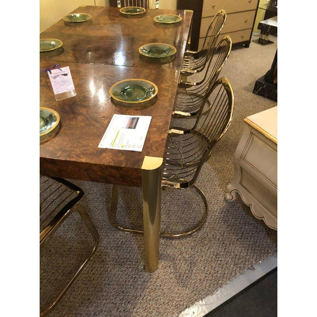 1950s Willy Rizzo for Cidue 8 Dining Chairs Italian 1970s Brass Plated Metal Labelled For Sale - Image 5 of 13