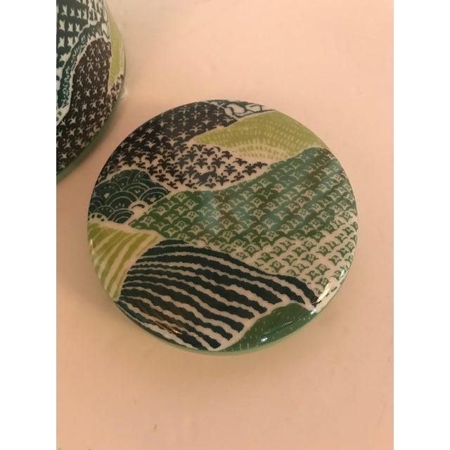 Port 68 Madcap Cottage Green/Blue Porcelain Lidded Jar For Sale - Image 4 of 7