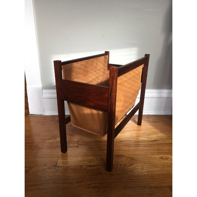 Danish Rosewood & Leather Magazine Rack - Image 3 of 11