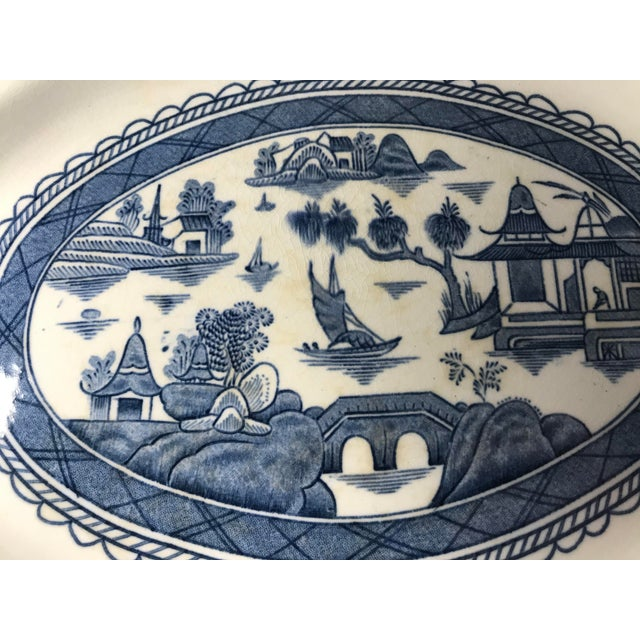 Wood & Son Woods & Sons Canton Blue Oval Platter Plate For Sale - Image 4 of 8
