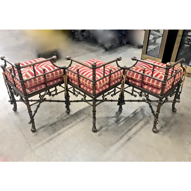 1980s Vintage Faux Bamboo Iron and Brass Bench For Sale In Los Angeles - Image 6 of 9