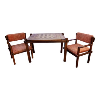 Walnut Wood Backgammon Chess Game Table & 2 Chairs For Sale