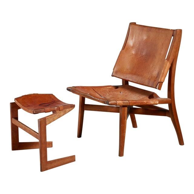 Studio Craft Lounge Chair With Ottoman, Usa For Sale