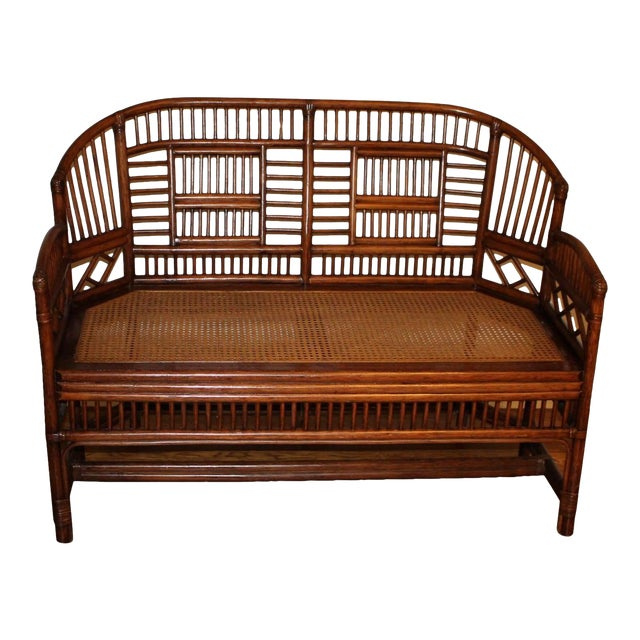 Vintage Mid Century Bamboo Rattan Pavilion Brighton Chinoiserie Chippendale Caned Settee For Sale