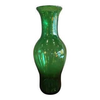 Blenko Mid-Century Green Crackle Glass Large Vase For Sale