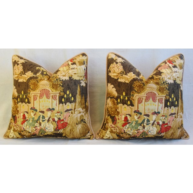 "Louis XVI-Style Romantic Grand Ball Linen Feather/Down Pillows 23"" Square - Pair For Sale In Los Angeles - Image 6 of 13"