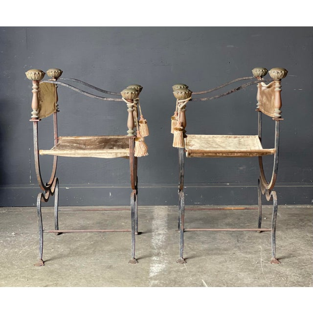 Pair of Antique Iron and Brass Curule Chairs For Sale - Image 4 of 10