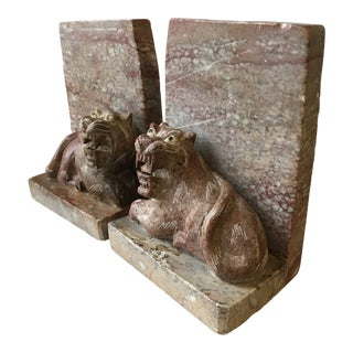 Vintage Hand Carved Soapstone Tiger Bookends - a Pair For Sale