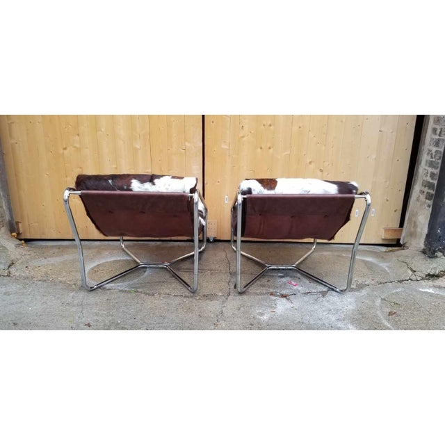 Italian Tubular Chrome Framed Scoop Sling Chairs Newly Upholstered - Pair For Sale - Image 4 of 5
