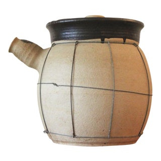 20th Century Japanese Tan Stoneware Cooking Pot - X-Large For Sale