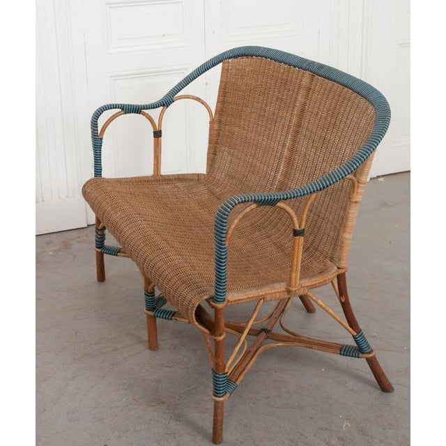 Blue Vintage French Woven-Rattan Settee For Sale - Image 8 of 11
