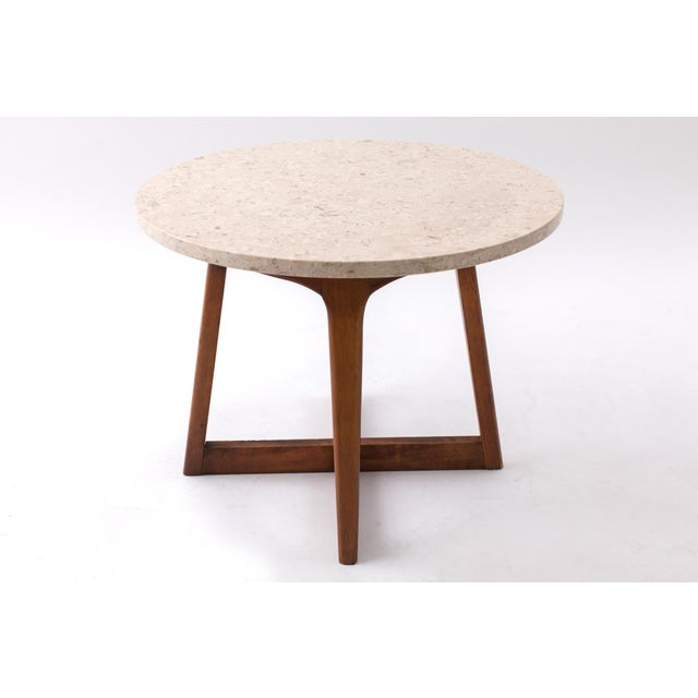 1960s 1960s Danish Modern Marble and Walnut End Tables - a Pair For Sale - Image 5 of 9