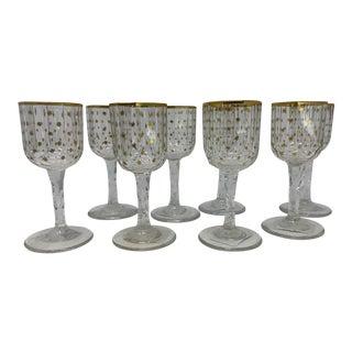 Vintage Gilded Gold Star Schnapps Glasses- Set of 8 For Sale