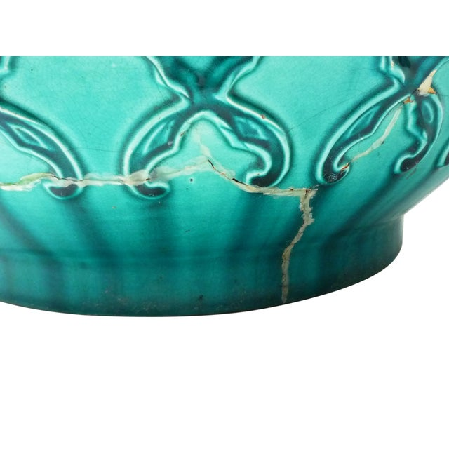 Majolica Turquoise Majolica Planter For Sale - Image 4 of 4