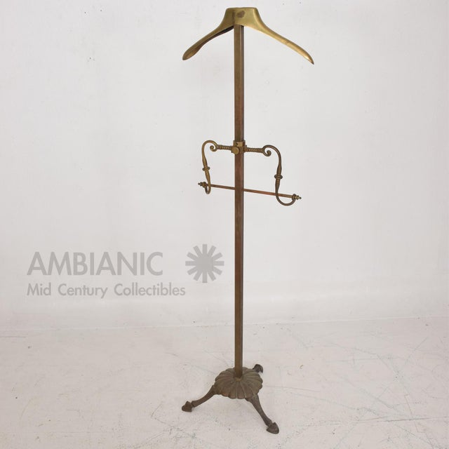 Brass Gentleman's Valet Hollywood Regency Era Coat Rack For Sale - Image 4 of 11