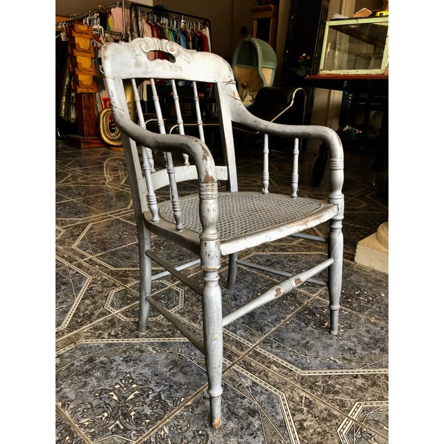 1940s Vintage Shabby Chic Lilac Wood and Cane Accent Chair For Sale - Image 13 of 13