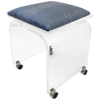 Swivel Clear Lucite Waterfall Vanity Stool by Charles Hollis Jones For Sale