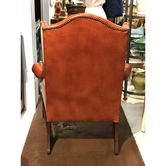 Vintage Georgian Style Orange Leather Arm Chair With Brass Tacks & Stretcher For Sale In Atlanta - Image 6 of 13