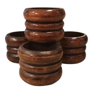 Dark Wood Napkin Rings - Set of 4