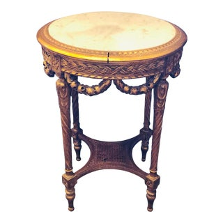 19th-20th Century Louis XVI Style Giltwood Marble-Top End, Center, Lamp Table For Sale