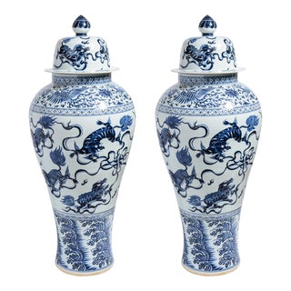"""20th Century Chinoiserie Blue & White Ceramic Tall 43"""" Lidded Temple Jars - a Pair For Sale"""