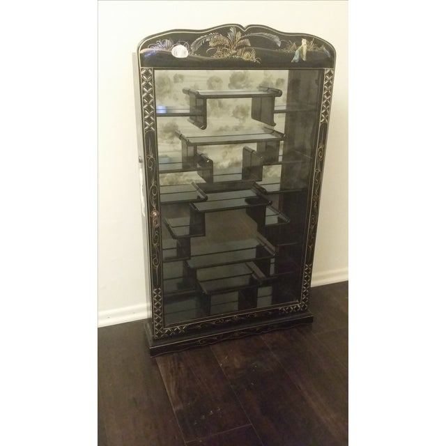 Black Lacquer Chinese Curio Display Cabinet - Image 2 of 6
