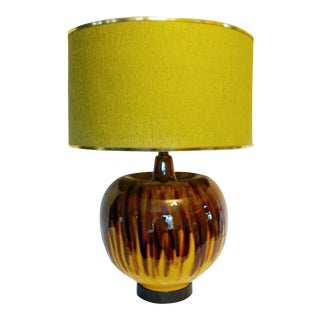 Mid-Century Brown & Orange Drip Glaze Table Lamp & Shade