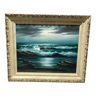 Mid-Century Original Oil Painting on Canvas Moonlit Seascape by Italian Artist R. Cristi For Sale