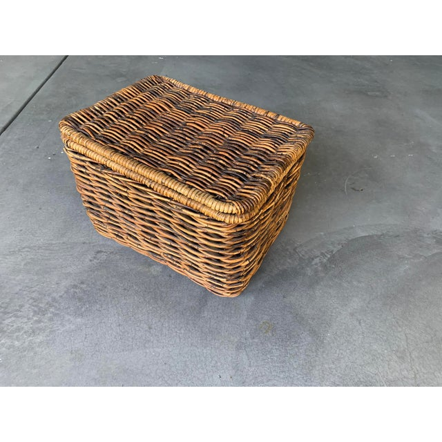 Wicker Pottery Barn Woven Rattan and Wicker Lidded Basket For Sale - Image 7 of 7