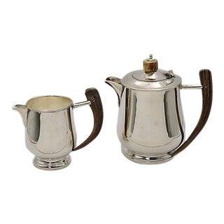 Horn Handled Silver-Plate Tea Set - A Pair