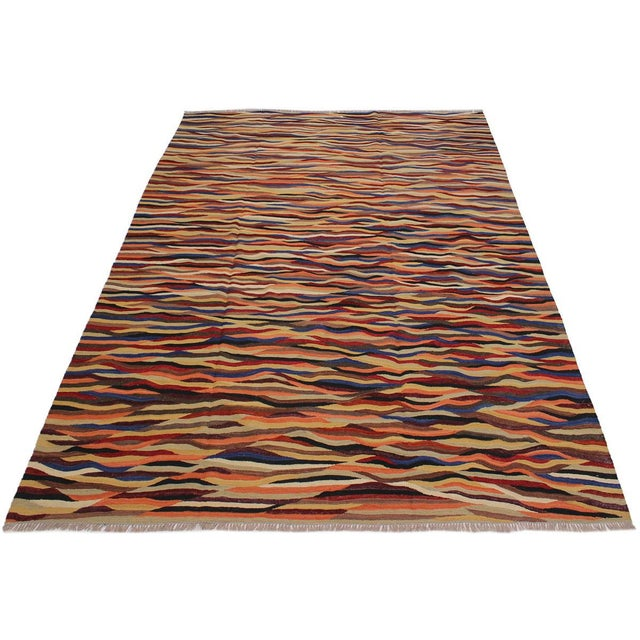 2000 - 2009 Abstract Expressionism Candis Hand-Woven Kilim Wool Rug - 8′4″ × 9′9″ For Sale - Image 5 of 8