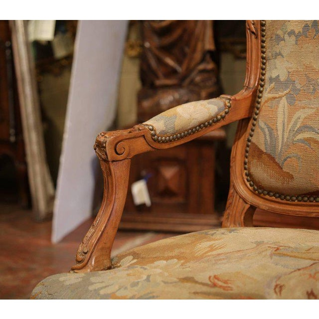 19th Century French Louis XV Carved Walnut Armchair With Aubusson Tapestry For Sale - Image 9 of 11