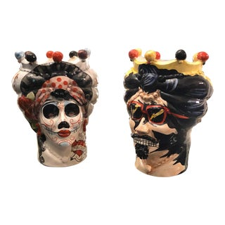 2019 Pop Art Sicilian Hand Painted Ceramic Head Vases - Set of Two For Sale