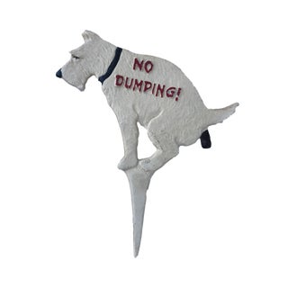 """No Dumping Yard Sign Cast Iron Dog/ Lawn Garden Stake Decor 13"""" H For Sale"""