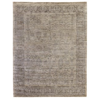 Oxford Hand-Knotted Bamboo/Silk Beige Rug - 6'x9' For Sale