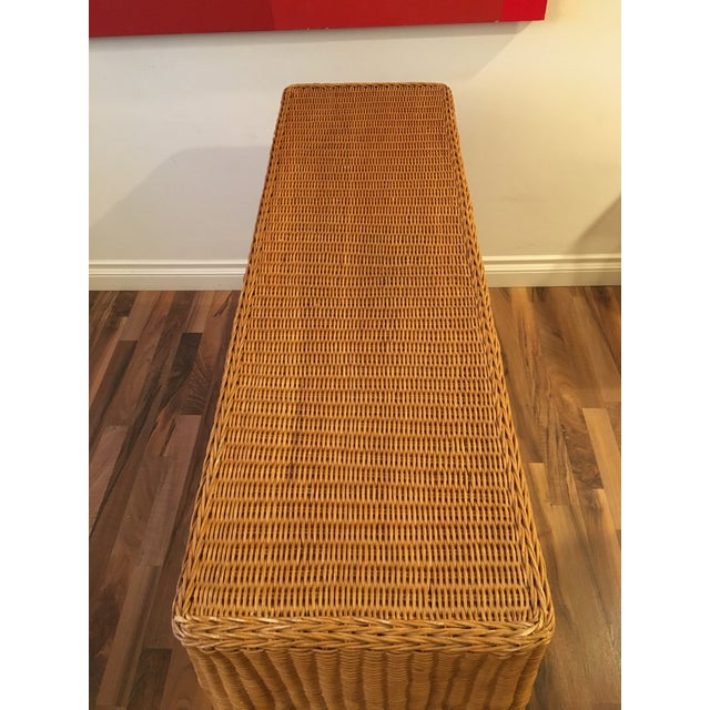 Mid-Century Modern 1970s Boho Chic Wrapped Rattan Wicker Tromp L'Oeil Console Sofa Table For Sale - Image 3 of 8