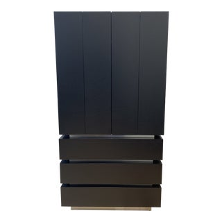 Creative Elegance Black Finish Birch Wood Armoire For Sale