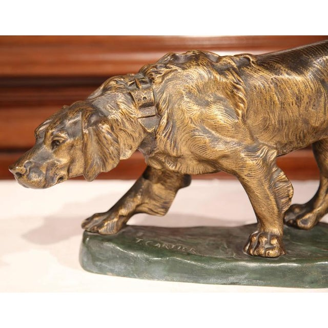 Early 20th Century French Patinated Bronze Hunting Dog Signed T. Cartier For Sale - Image 5 of 8