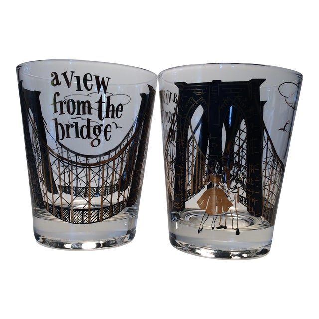 "2 - Hollywood Regency Lo-Ball Glasses ""A View From the Bridge"" - Image 1 of 10"