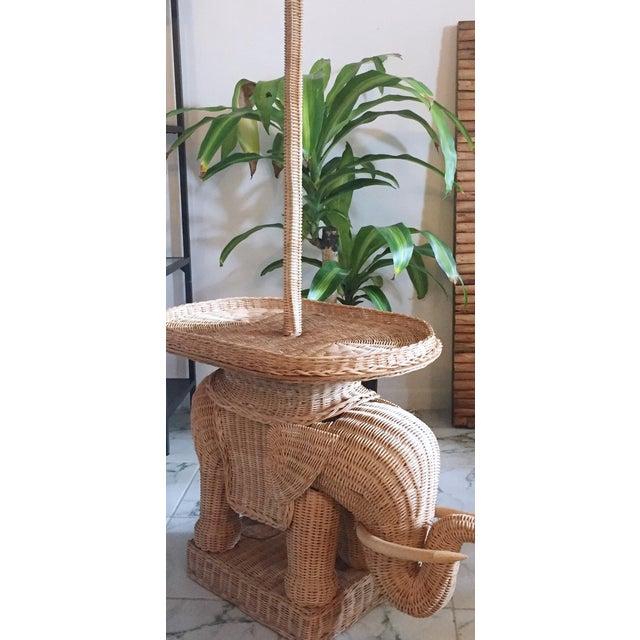 Hollywood Regency Wicker Elephant Table & Lamp - Image 4 of 11