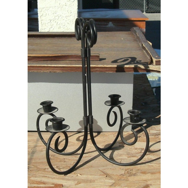 French Late 20th Century Chandelier Wrought Iron Wall Sconce Candle Holders - a Pair For Sale - Image 3 of 7