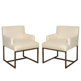 Pair of Modern Upholstered Armchairs on Square Brass Bases, France, Circa 1975 For Sale