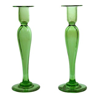 Pair of Hand Blown Crystal Apple Green Candlesticks by Pairpoint For Sale