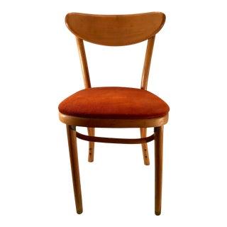 Vintage Orange Pigskin Suede Seat Bentwood Side Chair