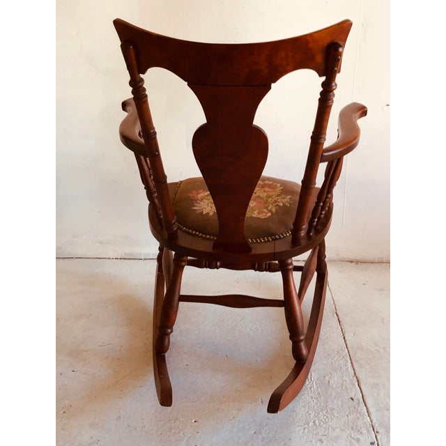 1920s Antique Rosewood Tapestry Rocking Chair Victorian Vintage For Sale - Image 5 of 7
