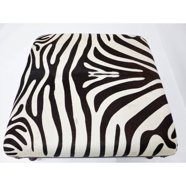 Mid-Century Modern Vintage Zebra Hide Ottoman, Coffee or Cocktail Table For Sale - Image 3 of 8